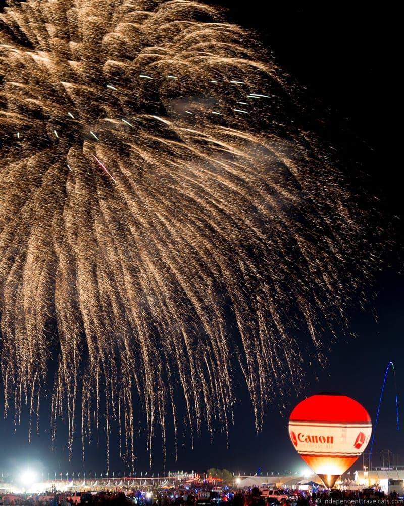 Albuquerque Balloon Fiesta evening flow fireworks Canon
