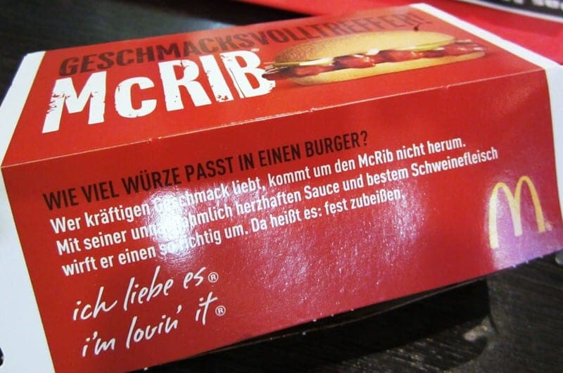 McDonald's McRib in Germany sandwich