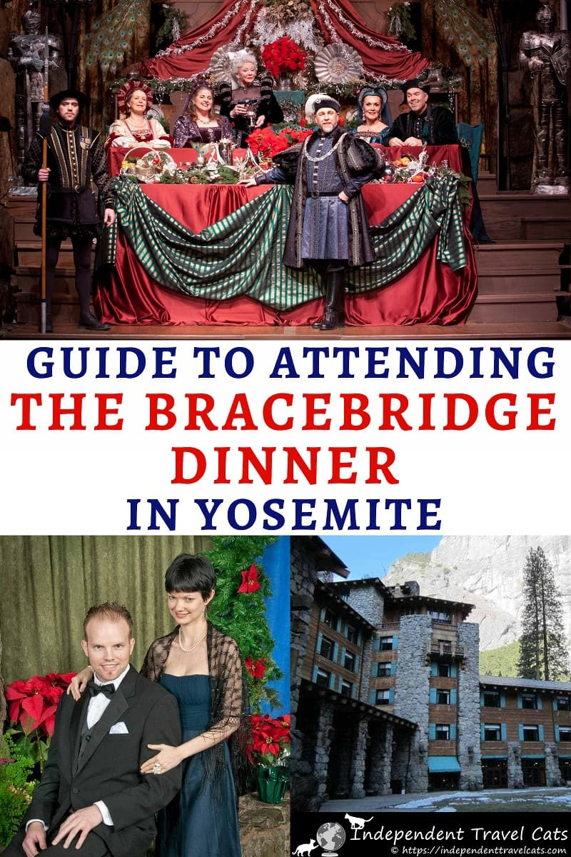 A detailed guide to attending the Bracebridge Dinner at Yosemite National Park in California during December. The Bracebridge Dinner at The Ahwahnee is a long-held Christmas tradition at Yosemite National Park. Each December. This 4-hour Yuletide celebration is a dazzling whirl of singing, acting, and pageantry which revolves around a 7-course feast. #BracebridgeDinner #YosemiteNationalPark #Yosemite #TheAhwahnee #Christmas #Ahwahnee #Bracebridge #December #winter #California