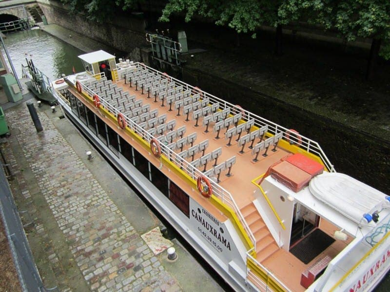 Paris Canal Saint Martin boat cruise boat ride on Paris canals  St. Martin canal Canauxrama Paris Canal