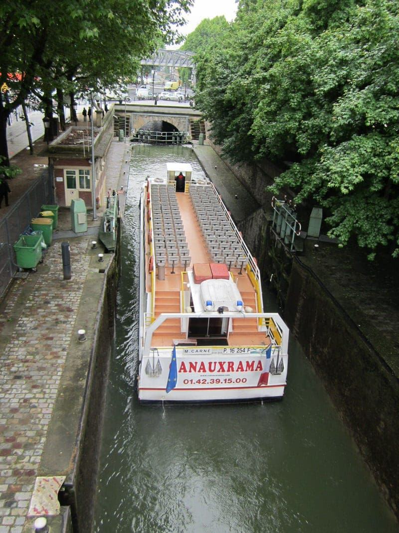 Paris Canal Saint Martin boat cruise boat ride on Paris canals St. Martin canalCanauxrama Paris Canal