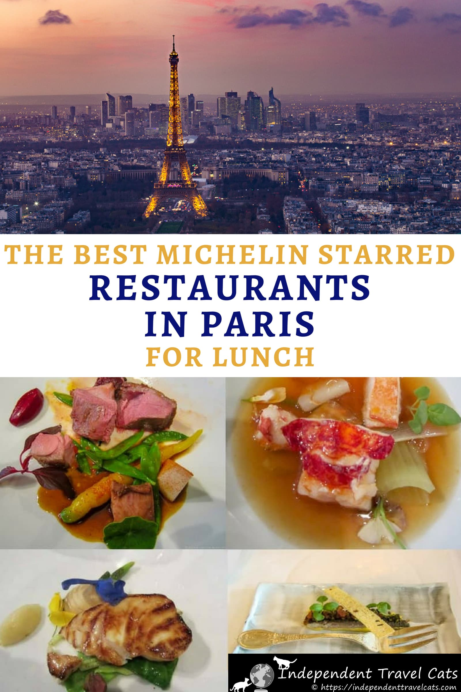A guide to the best restaurants in Paris for lunch. Here is a list of 24 Michelin-starred restaurants in Paris you might want to consider for a lunch splurge during a visit. We have chosen Michelin starred restaurants offering less expensive lunch menus (compared to the dinner menus) and that start at 35€ per person. We also share tips about how to make restaurant reservations in Paris and about dining in Paris. #Paris #Parisresturants #Parisdiningguide #finedining #foodguide #Michelin #France
