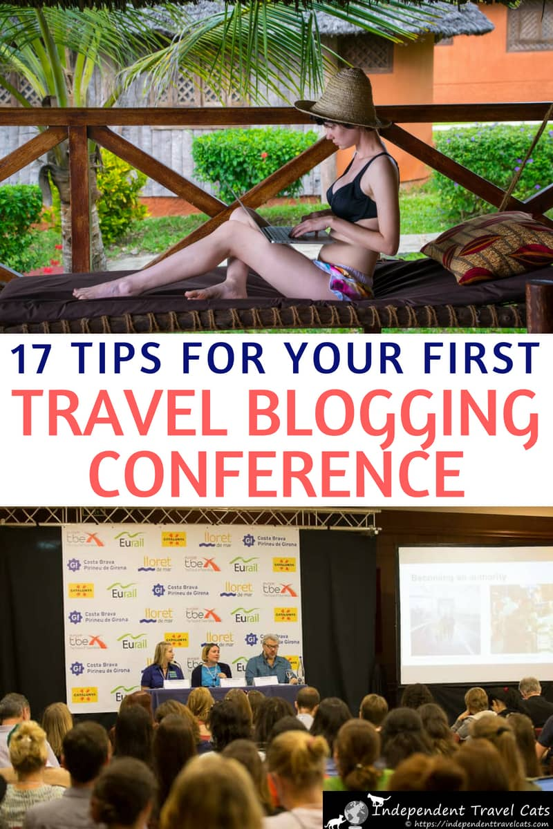 Our tips and advice for preparing for your first travel blogger conference based on our experiences attending and speaking at a number of travel blogging conferences. We share tips and advice for attending your first travel blogging conference, including how to prepare, what to bring, what to wear, and how to meet people & network at the event to help you make the most of your first travel blogger conference. #travelblogging #travelbloggers #TBEX #TravelCon #travelblogger #blogging #bloggingtips