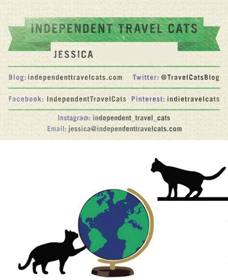 Minted business card design independent travel cats colourmoves