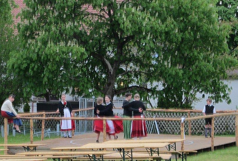 German-girls-dancing local village festival in Steingaden beer in Bavaria
