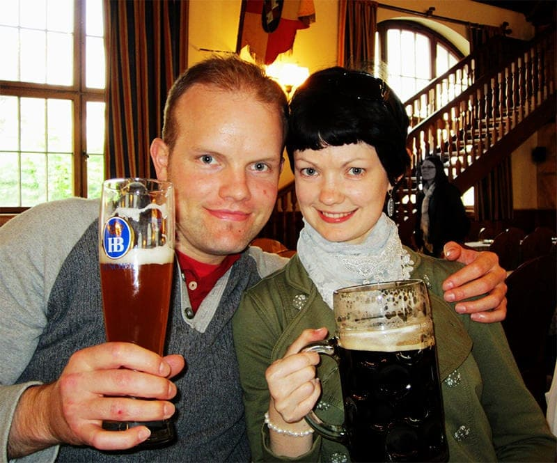 couple at Hofbrauhaus with beer in Bavaria Munich Germany