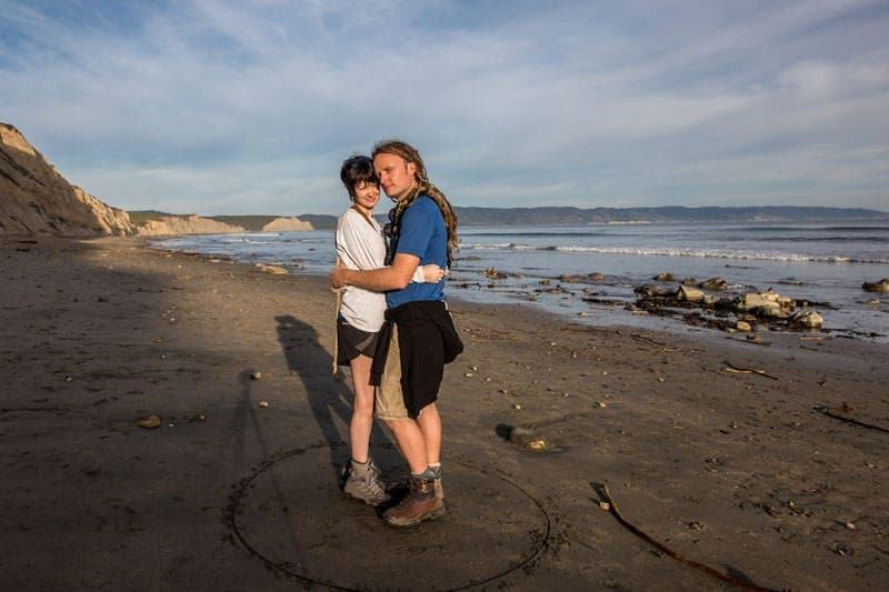 Laurence and Jessica on beach Point Reyes California