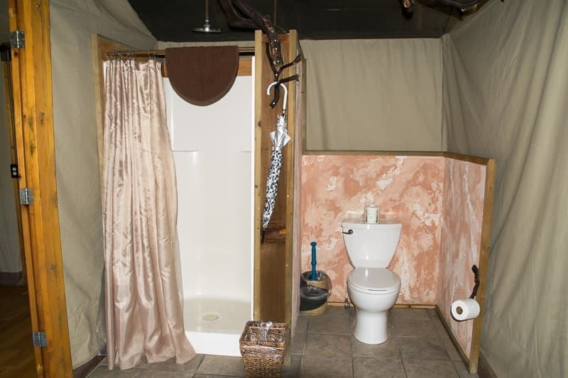 bathroom of luxury tent at Safari West