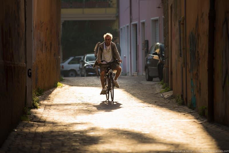 Man on bicycle fano italy