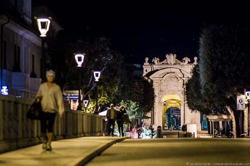 Le Marche Italy Streets of Senigallia at night