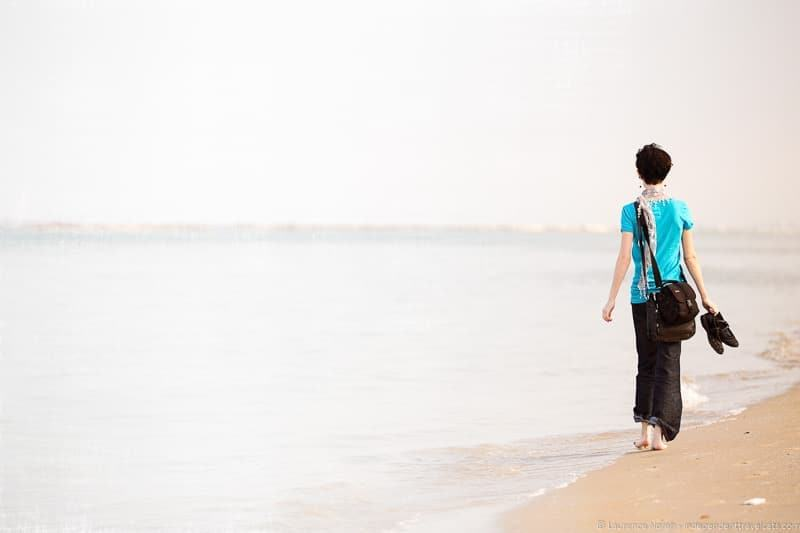 walking on beach in pesaro italy le Marche