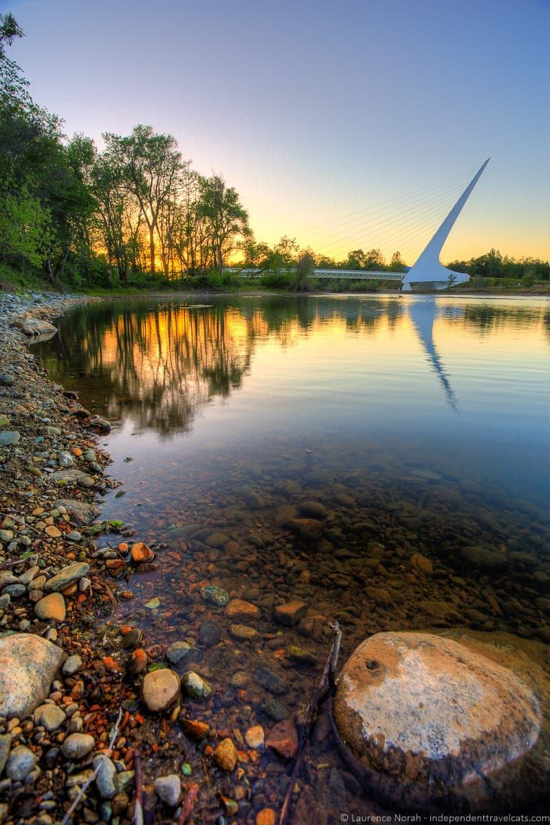 sunset at Sundial Bridge weekend in Redding California Shasta Cascade