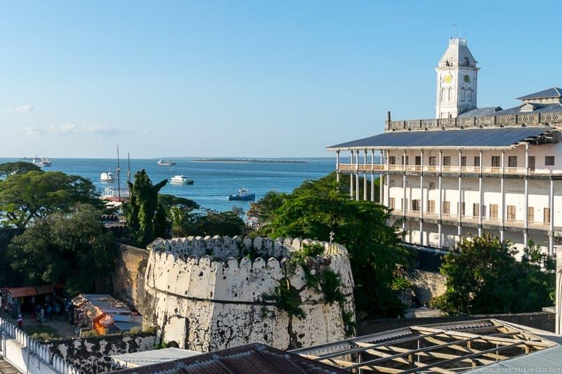 rooftop terrace view from Jafferji House and Spa hotel Stone Town Zanzibar