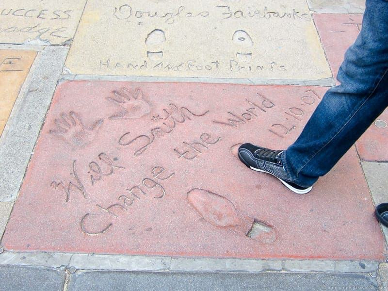Will Smith footprints Hollywood California Pacific Coast Highway 1 road trip