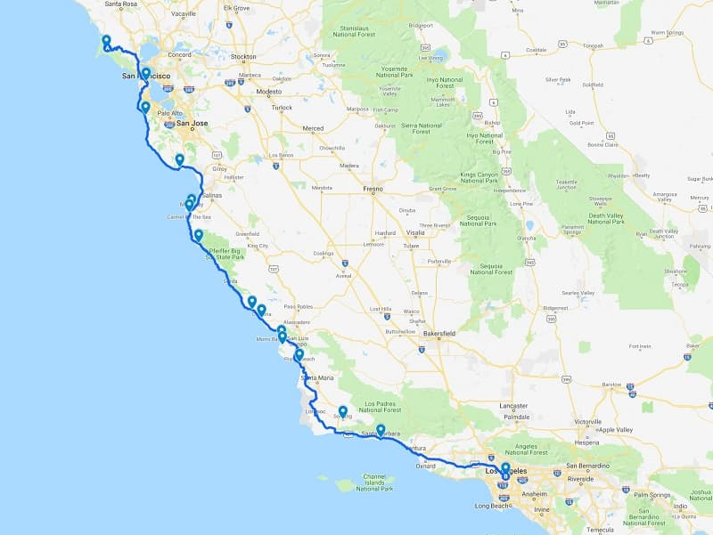 Pacific Coast Highway Road Trip Map California Highway 1 route