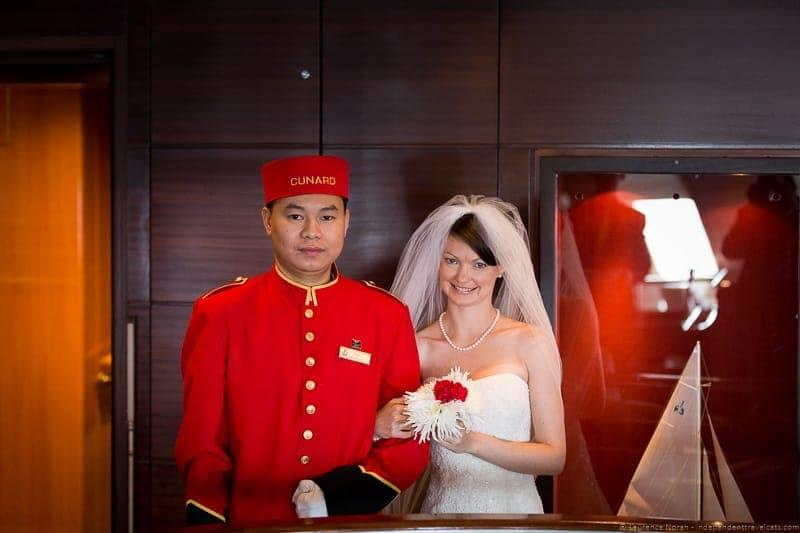 Cunard Queen Mary 2 wedding at sea cruise bellman