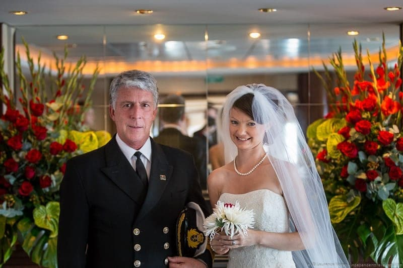 Captain Kevin Oprey Cunard Queen Mary 2 wedding at sea cruise