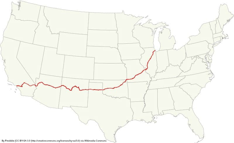 map of Route 66 road trip