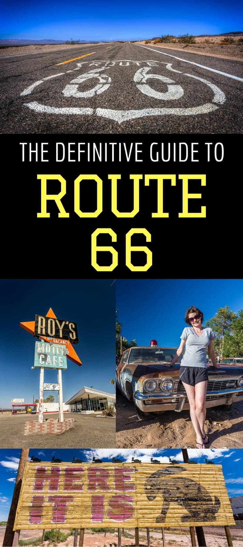 A complete guide to planning your Route 66 road trip - the ultimate American road trip. Learn how to follow Route 66, what to pack, how to pick your transportation, best planning materials, when to go, where to eat, where to stay, and more!