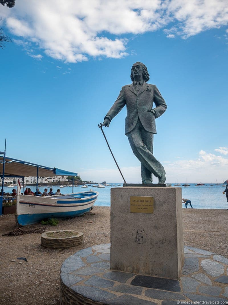 places to experience the world of salvador dal atilde shy in costa brava cadaques statue of salvador dalatildeshy in costa brava spain