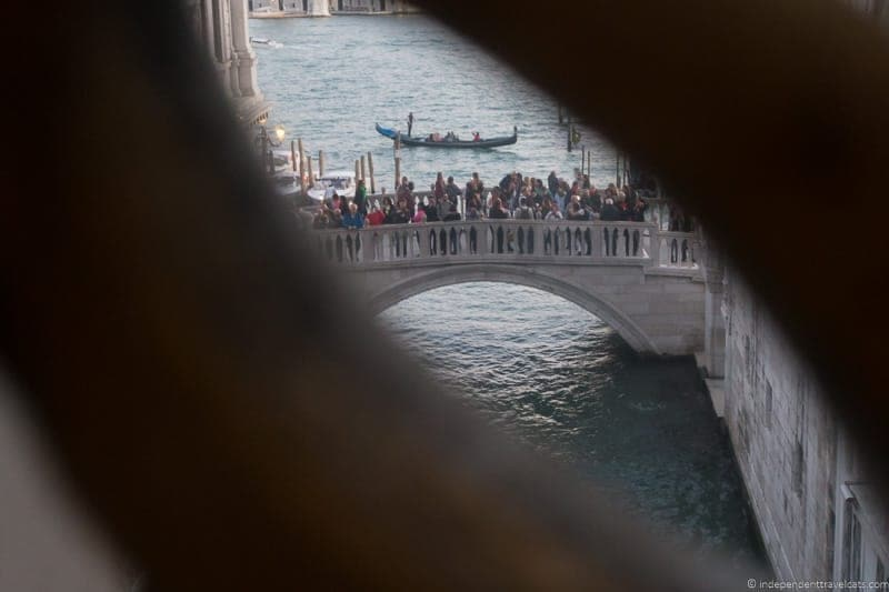 View inside Bridge of Sighs Doge's Palace Venice ithout the crowds