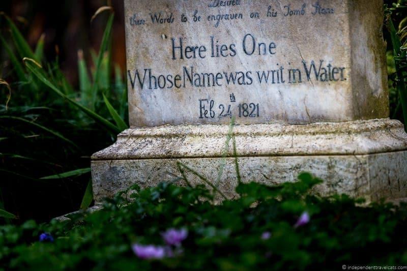 John Keats grave Non Catholic Cemetery Grand Tour in Rome Italy