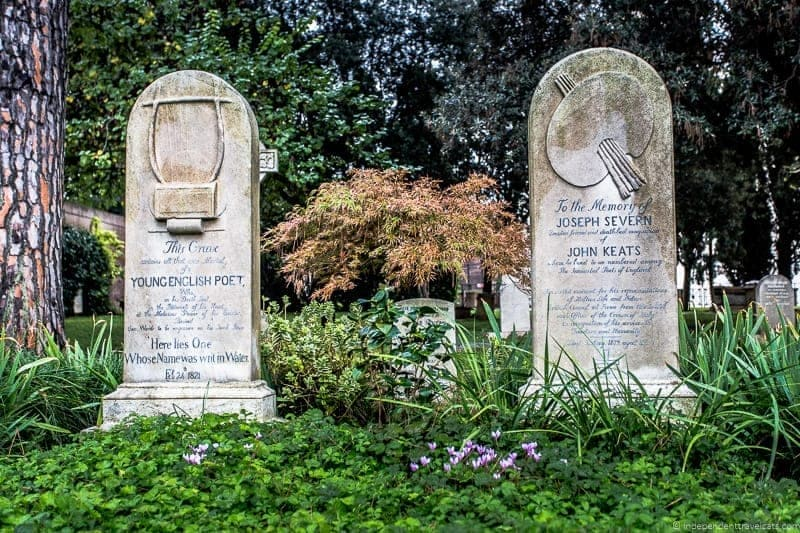 John Keats grave Non Catholic Cemetery Grand Tour in Rome Italy
