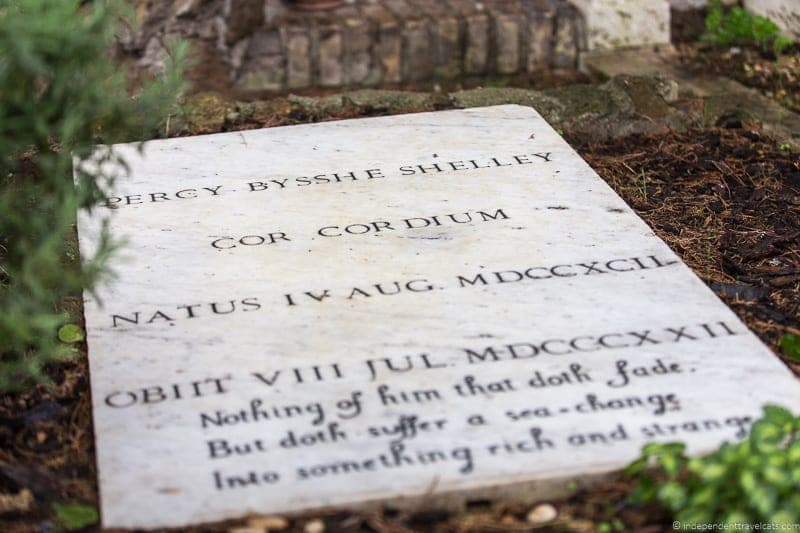 Percy Bysshe Shelley grave Non Catholic Cemetery Grand Tour in Rome Italy