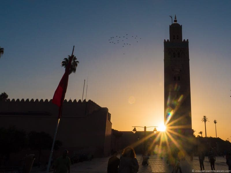Koutobia Mosque sunset things to do in Marrakesh Morocco Marrakech