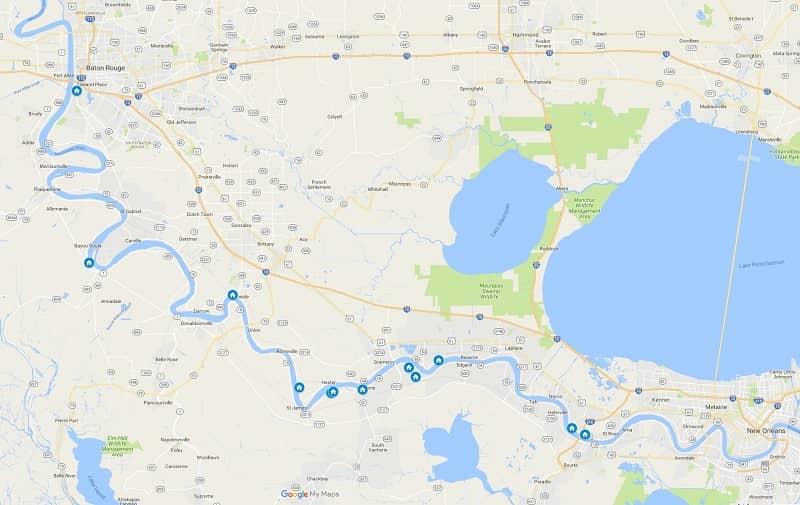 River Road Louisiana Plantations from Baton Rouge to New Orleans Louisiana map
