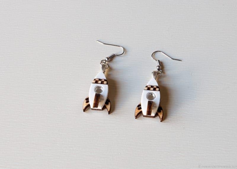 spaceship earrings handmade travel jewelry traveling inspried jewellery