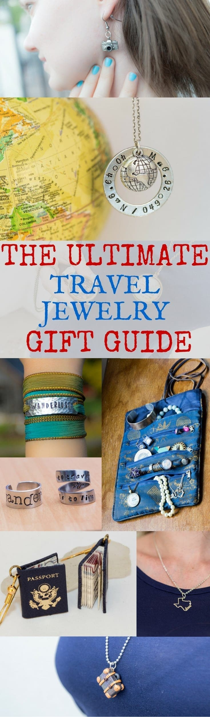 A definitive guide to all the travel themed jewelry for the travel lover in your life!