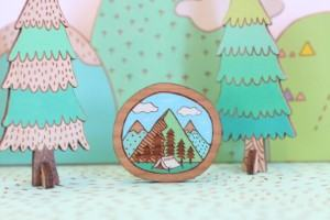 wooden mountain brooch gift for travelers travel inspired jewelery