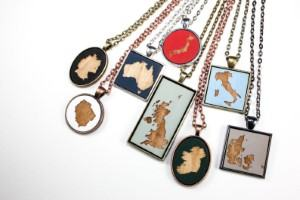 wooden painted country necklace travel inspired jewelry for travelers