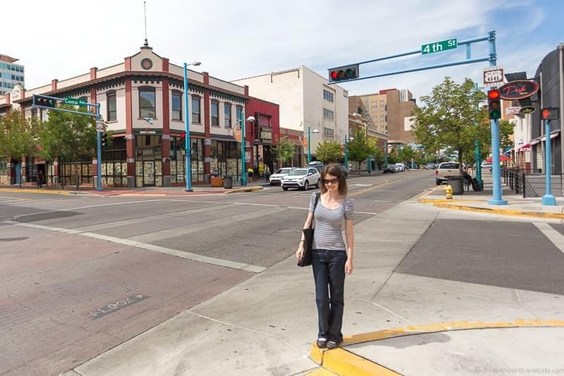 intersection crossroads Route 66 in Albuquerque New Mexico highlights