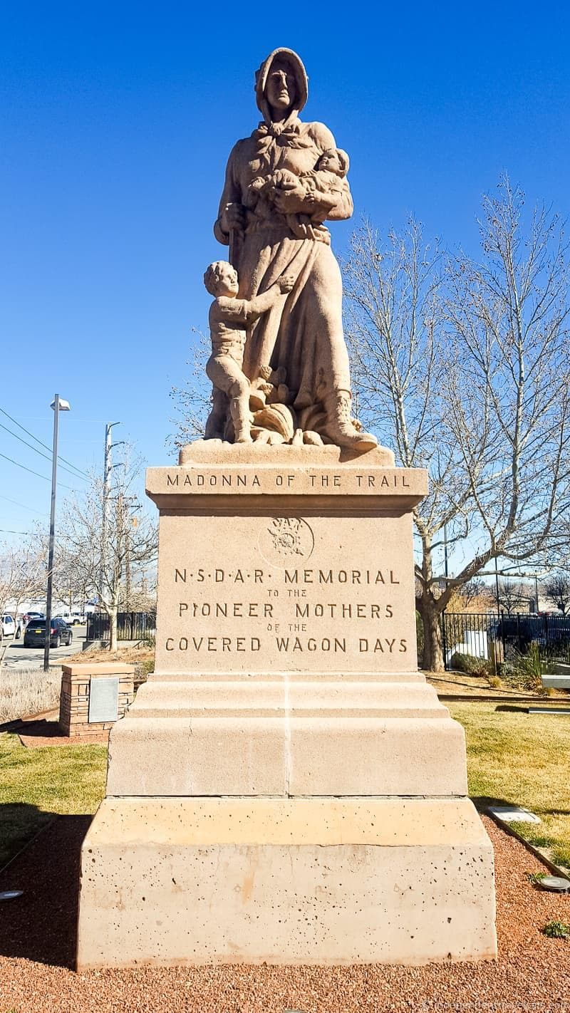 Madonna of the Trail Route 66 in Albuquerque New Mexico highlights