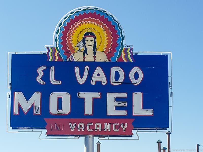 El Vado Motel sign Route 66 in Albuquerque New Mexico highlights
