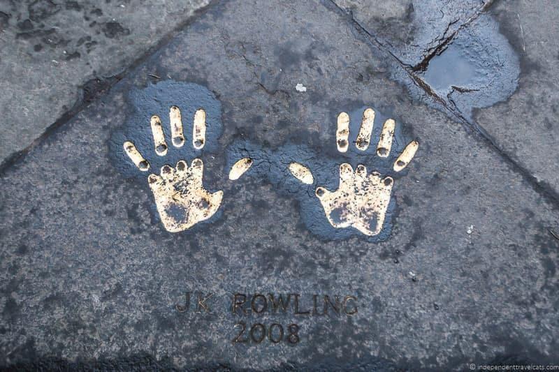 Harry Potter sites in Edinburgh Scotland J.K. Rowling handprints