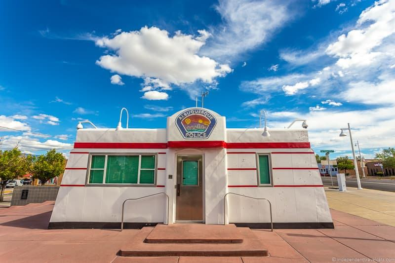 Triangle Park police Valentine Diner Route 66 in Albuquerque New Mexico attractions