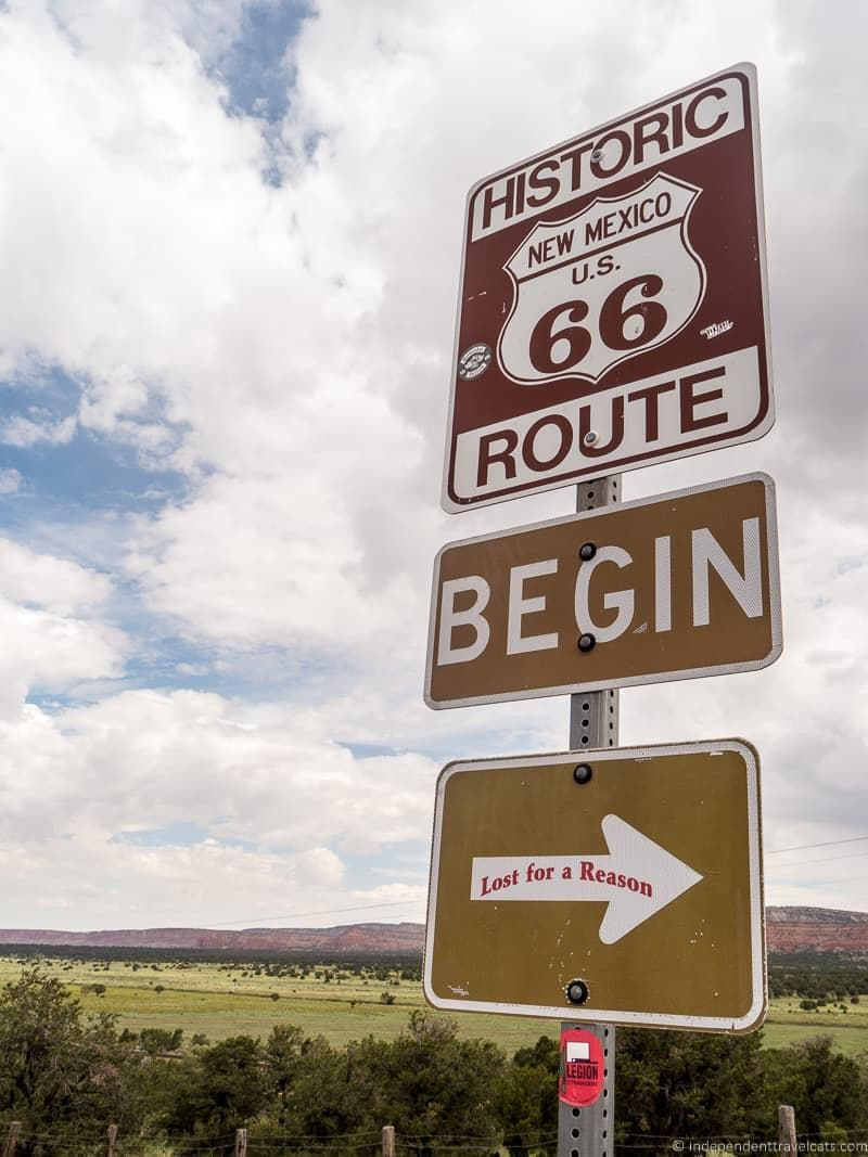 sign Route 66 in Albuquerque New Mexico highlights