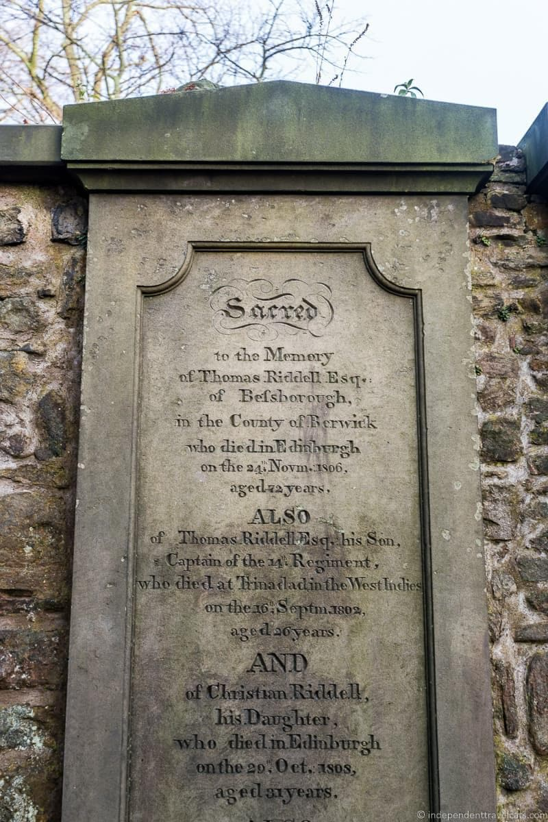 Thomas Riddell Voldemort Greyfriars Kirkyard graveyard Harry Potter sites in Edinburgh Scotland J.K. Rowling