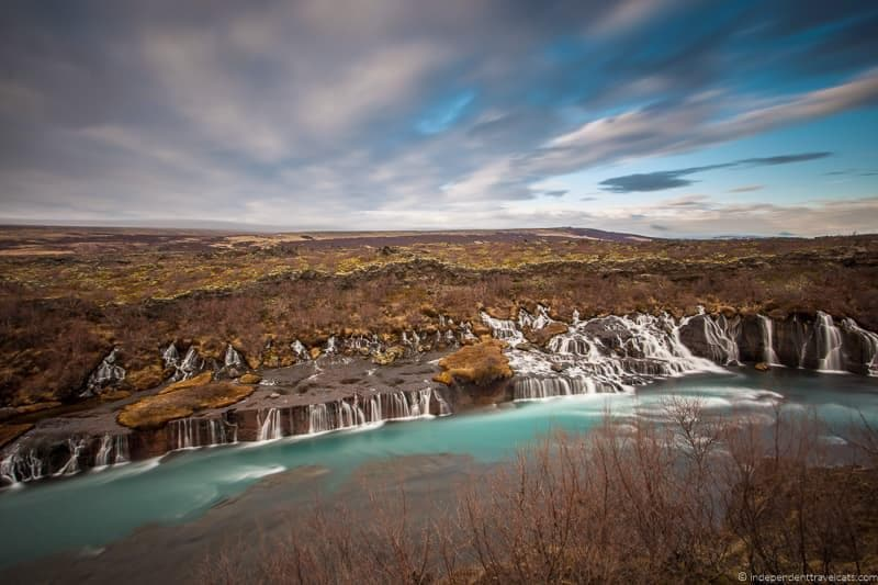 Hraunfossar Waterfall 7 day Iceland itinerary by car one week road trip