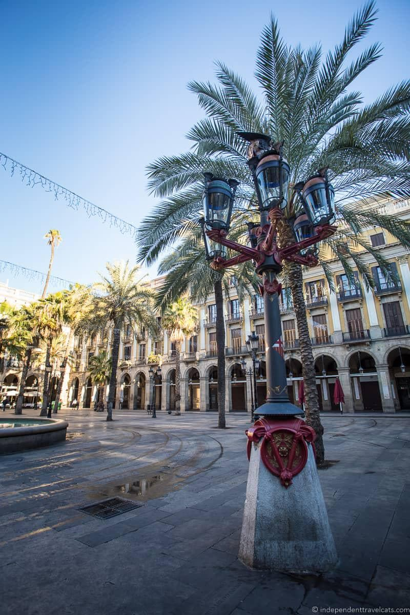 lamp posts guide to Gaudí sites in Barcelona Spain