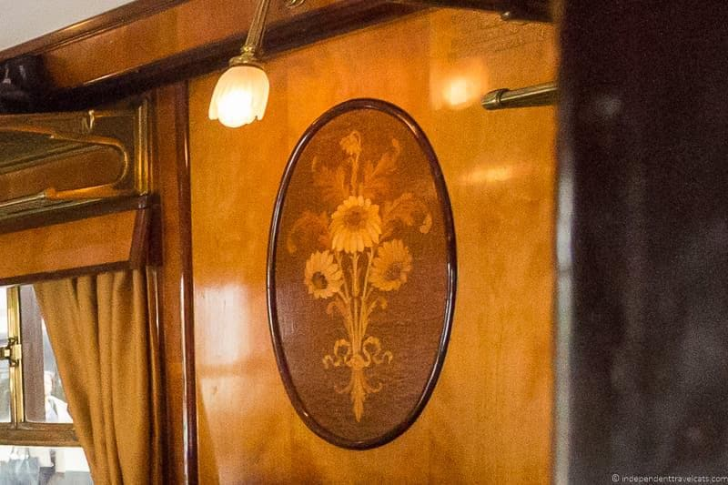 British Pullman train Phoenix train car carriage flower marquetry