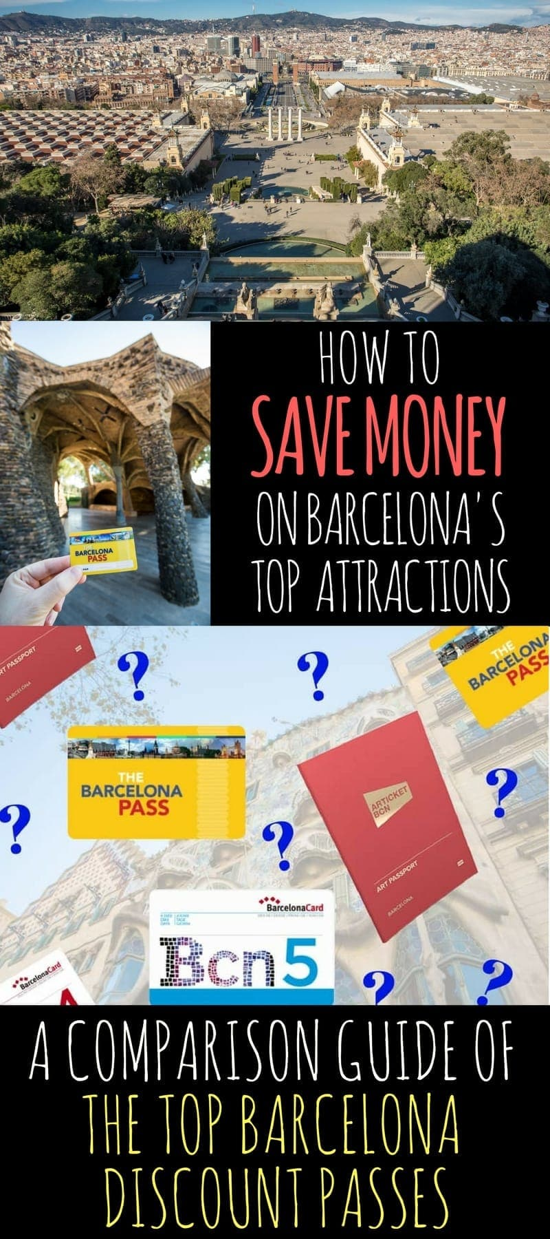 Save money in Barcelona with discount passes. This post compares three of the most popular passes: Barcelona Pass versus the Barcelona Card versus the Barcelona Museum Pass (aka Barcelona Articket). Find out which one is best for you and save money in Barcelona! Comparison chart included: