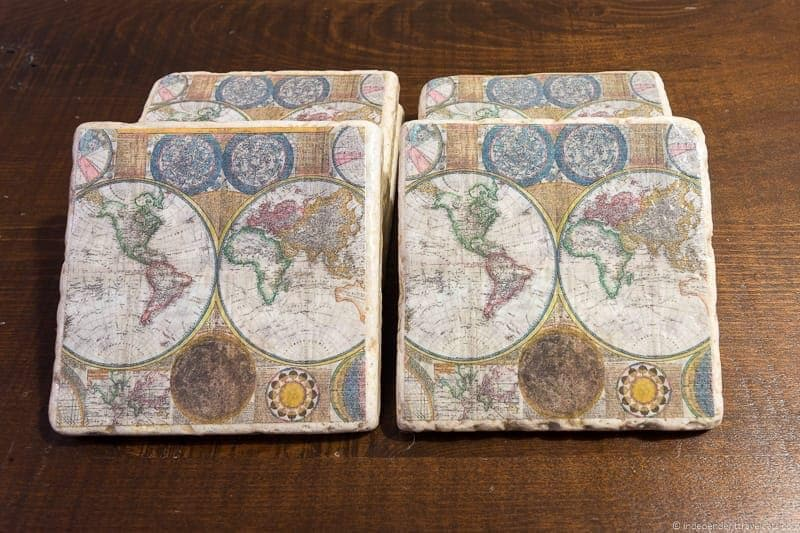 world map coasters Travel Home Decor Handmade Travel Themed Home Decorations