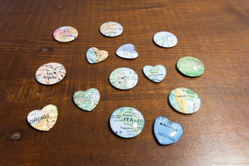map magnets Travel Home Decor Handmade Travel Themed Home Decorations