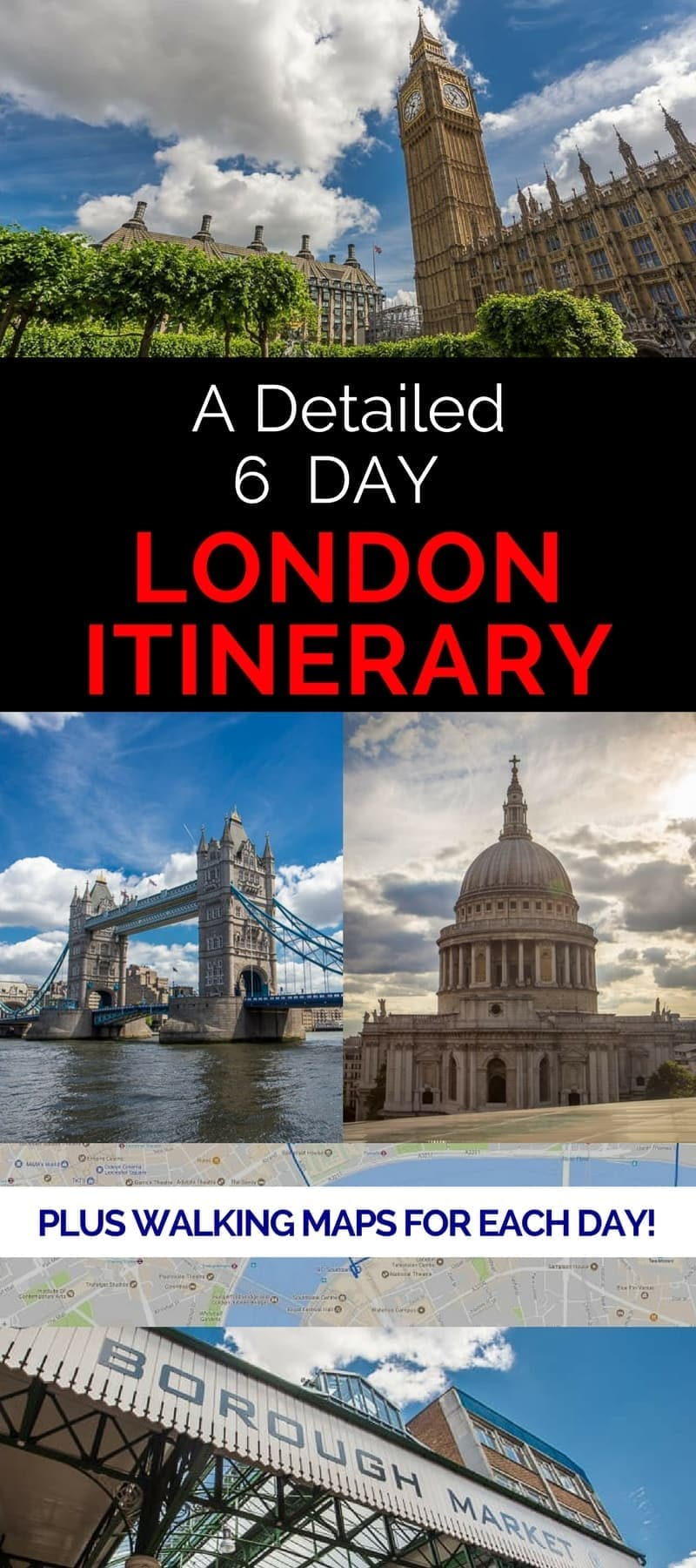 A detailed 6 day London itinerary that provides a detailed suggested itinerary for each day, daily walking maps, tips on how to save money, and loads of suggestions on how to make the most of your six days in London England.