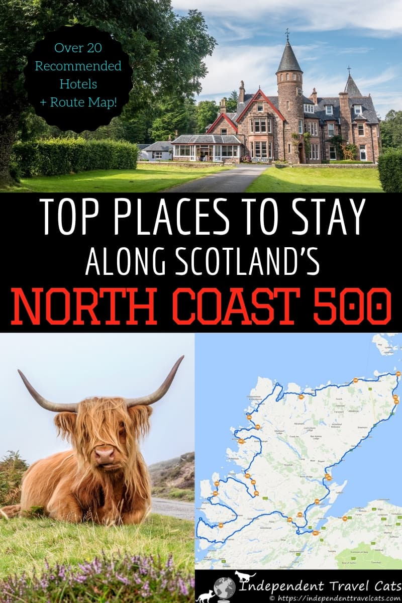 A guide to the best North Coast 500 hotels & accommodation along the NC500 road trip route in Scotland. Accommodation options range from luxury castles and hotels to cozy B&B's and seaside cottages. This article will help you figure out where to stay along the NC500 so you can make the most of your North Coast 500 road trip! #NorthCoast500 #NC500 #Scotland #travel #Scotlandroadtrip #roadtrip #NorthCoast500hotels #lodging