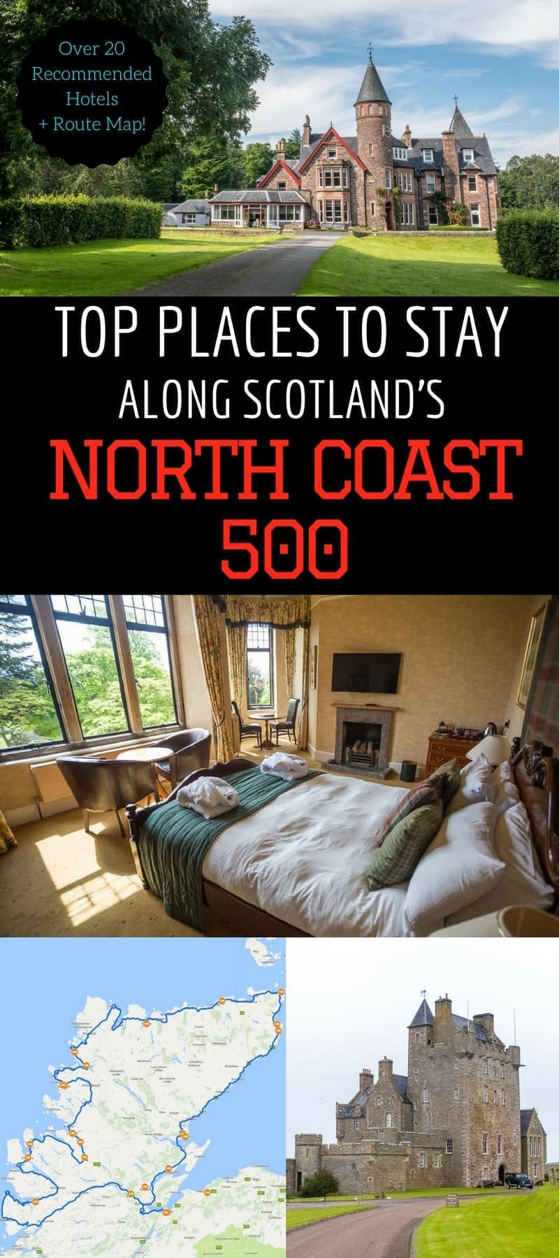 A guide to the best North Coast 500 hotels in Scotland. Accommodation options range from luxury castles to cozy B&B's to seaside cottages. This article will help you figure out where to stay along the NC500 so you can make the most of your North Coast 500 road trip!